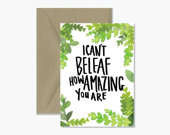 Cant beleaf pun greeting card watercolour