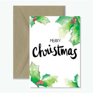 Merry Christmas Card Watercolour Holly