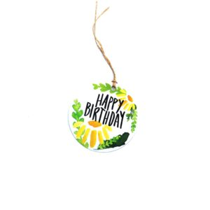 Happy Birthday Yellow Flowers Gift Tag