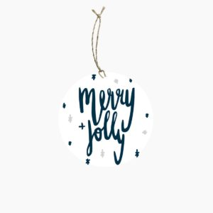 Merry + Jolly Round Gift Tag