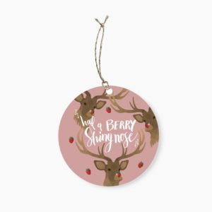 Berry Shiny Nose Round Gift Tag
